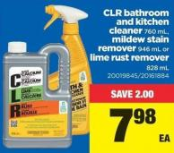 Clr Bathroom And Kitchen Cleaner - 760 Ml - Mildew Stain Remover - 946 Ml Or Lime Rust Remover - 828 Ml