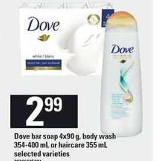 Dove Bar Soap - 4x90 g - Body Wash - 354-400 mL Or Haircare - 355 mL