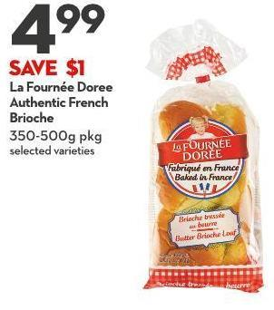 La Fournée Doree Authentic French Brioche 350-500g Pkg