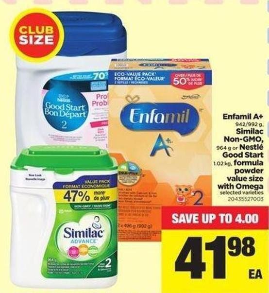 Enfamil A+ 942/992 G - Similac Non-gmo - 964 G Or Nestlé Good Start 1.02 Kg - Formula Powder Value Size With Omega