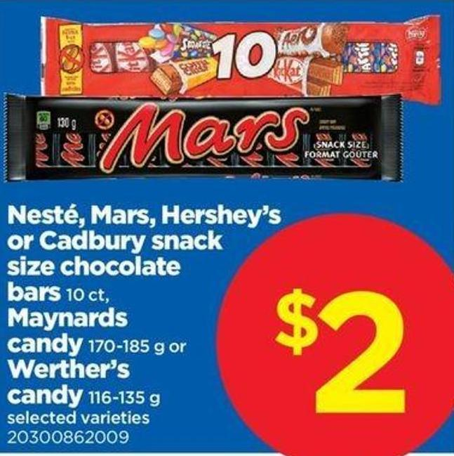 Nesté - Mars - Hershey's Or Cadbury Snack Size Chocolate Bars - 10 Ct Maynards Candy - 170-185 G Or Werther's Candy - 116-135 G