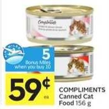 Compliments Canned Cat Food 5 Air Miles Bonus Miles
