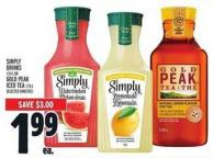 Simply Drinks 1.54 L Or Gold Peak Iced Tea 1.75 L