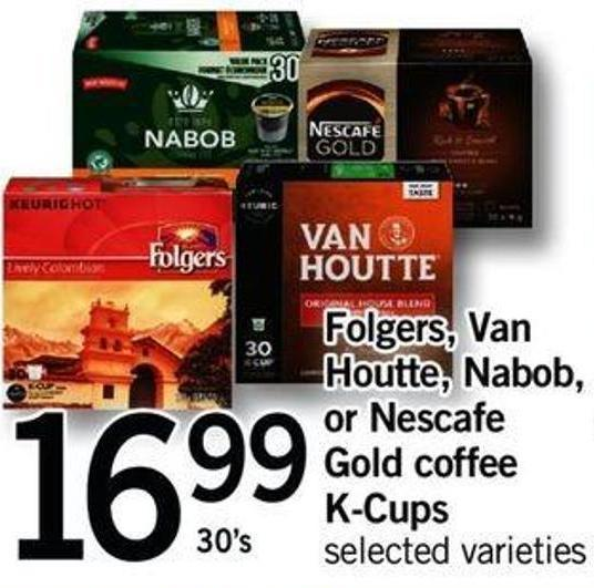 Folgers.van Houtte - Nabob Or Nescafe Gold Coffee K-cups - 30's