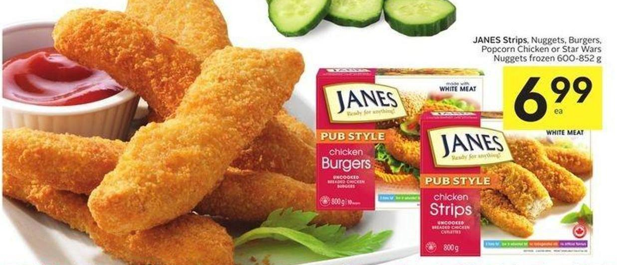 Janes Strips - Nuggets - Burgers - Popcorn Chicken or Star Wars Nuggets Frozen 600-852 g