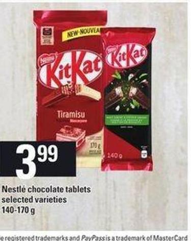 Nestlé Chocolate Tablets - 140-170 g