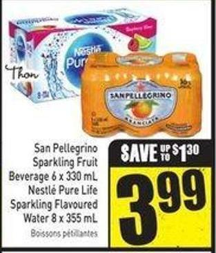 San Pellegrino Sparkling Fruit Beverage 6 X 330 mL Nestlé Pure Life Sparkling Flavoured Water 8 X 355 mL