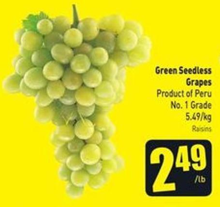 Green Seedless Grapes Product of Peru No. 1 Grade 5.49/kg
