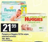Pampers Or Huggies 12/13x Wipes - 768-864's
