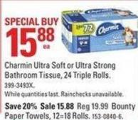 Charmin Ultra Soft or Ultra Strong Bathroom Tissue - 24 Triple Rolls