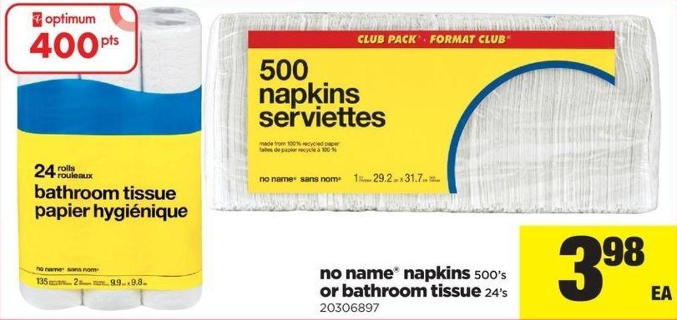 No Name Napkins - 500's Or Bathroom Tissue - 24's