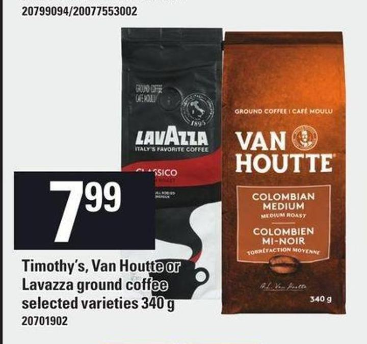Timothy's - Van Houtte Or Lavazza Ground Coffee - 340 g