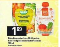 Baby Gourmet Or Love Child Protein Baby Food Pouches - 128 mL