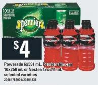 Powerade 6x591 mL - Perrier Slim Can 10x250 mL Or Nestea 12x341 mL