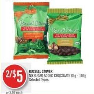 Russell Stover No Sugar Added Chocolate 85g - 102g