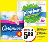 Cashmere Bathroom Tissue 12 Double Rolls Spongetowels or Scotties Facial Tissue 6 Pk