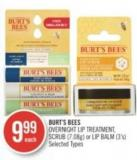 Burt's Bees Overnight Lip Treatment - Scrub (7.08g) or Lip Balm (3's)