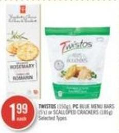 Twistos (150g) - PC Blue Menu Bars (5's) or Scalloped Crackers (185g)