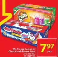 Mr. Freeze Jumbo or Giant Crush Freeze Pops
