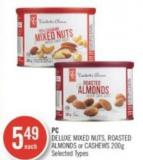 PC Deluxe Mixed Nuts - Roasted Almonds or Cashews 200g