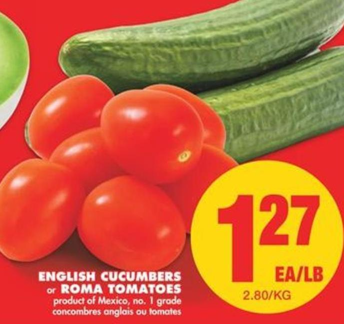 English Cucumbers or Roma Tomatoes