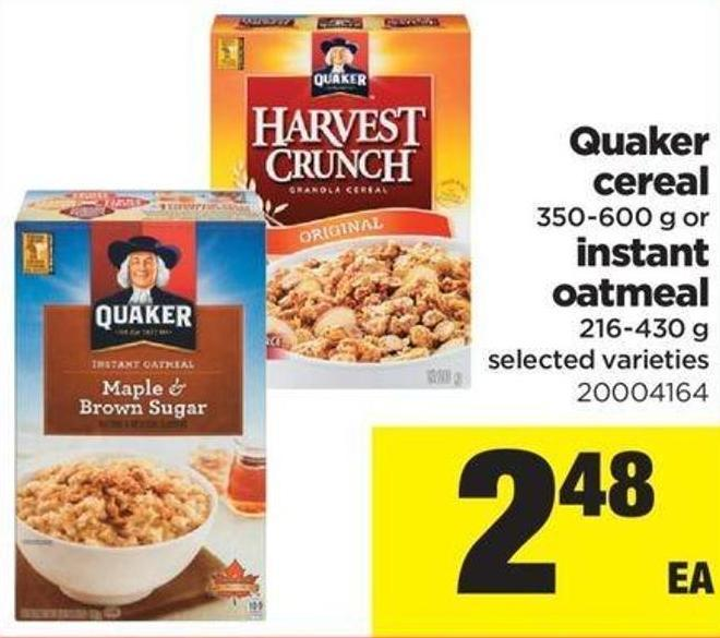 Quaker Cereal - 350-600 G Or Instant Oatmeal - 216-430 G