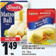 Lipton Or Streit's Matzo Ball Or Soup Mix 116 - 128 g