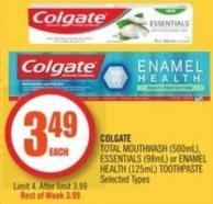 Colgate Total Mouthwash (500ml) - Essentials (98ml) or Enamel Health (125ml) Toothpaste