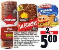 Dempster's Hot Dog Or Hamburger Buns - Dempster's White Or Whole Wheat Bread Or Country Harvest Bread Or Bagels