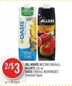 Del Monte Nectar (960ml) - Allen's (1l) or Oasis (960ml) Beverages