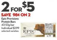 Epic Provisions Protein Bars 43-53g Bar
