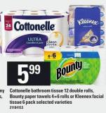 Cottonelle Bathroom Tissue 12 Double Rolls - Bounty Paper Towels 4=6 Rolls Or Kleenex Facial Tissue 6 Pack