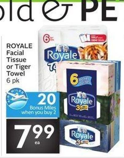 Royale Facial Tissue or Tiger Towel - 20 Air Miles Bonus Miles