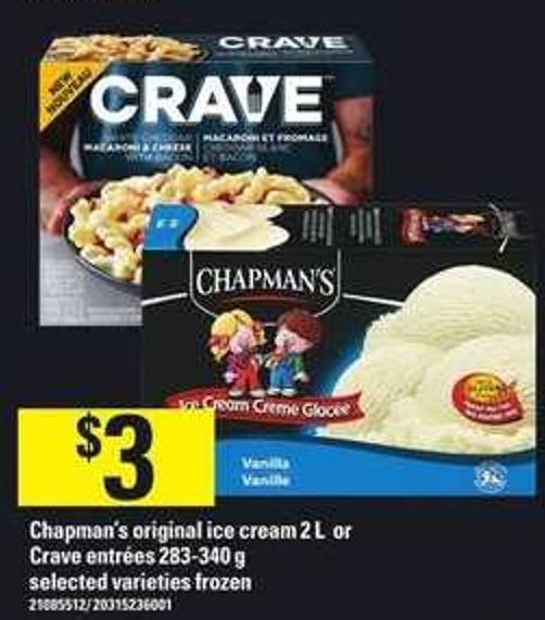 Chapman's Original Ice Cream - 2 L Or Crave Entrées - 283-340 G