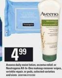 Aveeno Daily Moist Lotion - Eczema Relief - Or Neutrogena All-in-one Makeup Remover Wipes - Wrinkle Repair - Or PODS