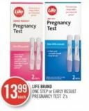 Life Brand One Step or Early Result Pregnancy Test 2's