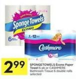 Spongetowels ÉCono Paper Towel 6 Pk or Cashmere Bathroom Tissue 6 Double Rolls Selected