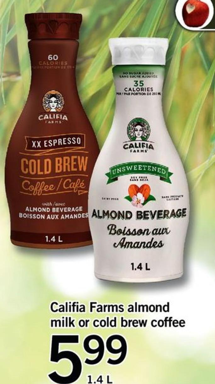 Califia Farms Almond Milk Or Cold Brew Coffee