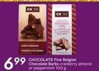 Chocolate Fine Belgian Chocolate Barks Cranberry Almond or Peppermint