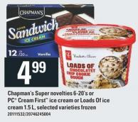 Chapman's Super Novelties 6-20's Or PC Cream First Ice Cream Or Loads Of Ice Cream 1.5 L