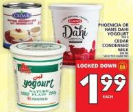 Phoenicia 750 G Or Hans Dahi Yogourt Or Cedar Condensed Milk  300 Ml
