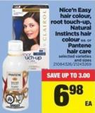 Nice'n Easy Hair Colour - Root Touch-up - Natural Instincts Hair Colour Or Pantene Hair Care