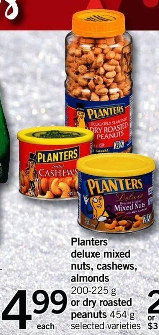 Planters Deluxe Mixed Nuts - Cashews - Almonds - 200-225 G Or Dry Roasted Peanuts - 454 G