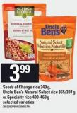 Seeds Of Change Rice 240 G - Uncle Ben's Natural Select Rice - 365/397 G Or Specialty Rice - 400-460 G