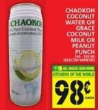 Chaokoh Coconut Water Or Grace Coconut Milk Or Peanut Punch
