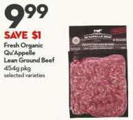 Fresh Organic  Qu'appelle Lean Ground Beef 454g Pkg