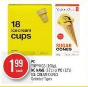 PC Toppings (100g) - No Name (18's) or PC (12's) Ice Cream Cones