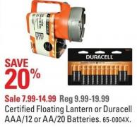 Certified Floating Lantern or Duracell Aaa/12 or Aa/20 Batteries