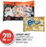 Carnaby Sweet Lollipops (100's) or Emoji Candy (50's)