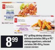PC Grilling Shrimp Skewers - Selected Varieties 360 G Or PC Shrimp Appetizers